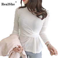 RealShe T Shirt Women Clothes 2018 Spring Caminas Femininas Wrinkles Thin O Neck Long Sleeve T