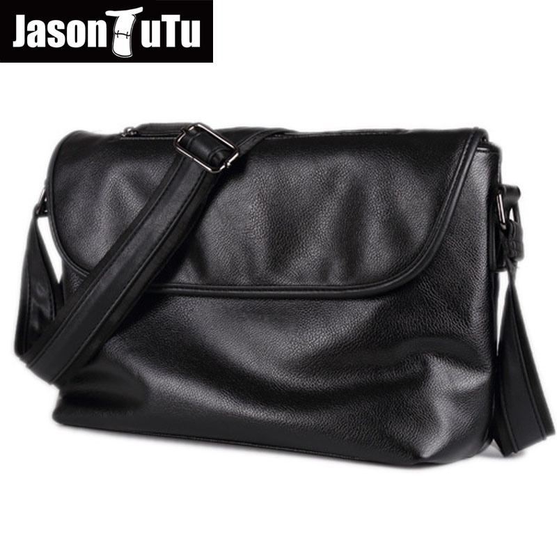 JASON TUTU Brand design man bag shoulder bag,Black PU leather men messenger bags, crossbody bags for men purse male handbag B517 jason tutu genuine leather crossbody bags cow leather multi function shoulder bag brands men messenger bags small bag hn54
