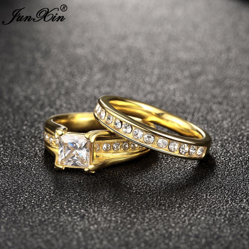 JUNXIN Geometric Design Male Female Yellow Gold Color Wedding Ring