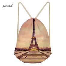 Jackherelook Beautiful Eiffel Tower Fashion Women Drawstring Backpack Small Shoulder Bags School Girls Storage Cinch Sack Bolsas