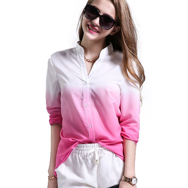 2017 New Women Chiffon Blouse Summer Ladies Tops Casual V Neck Blouses Loose Shirts Gradual Change Shirt Long Sleeve Blusas