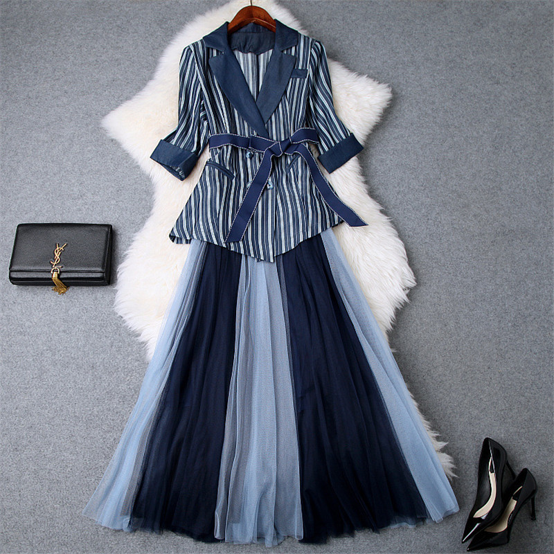 Brand New Designer 2019 Spring Fashion Two Piece Suit Set Women s Notched Collar Striped Lace