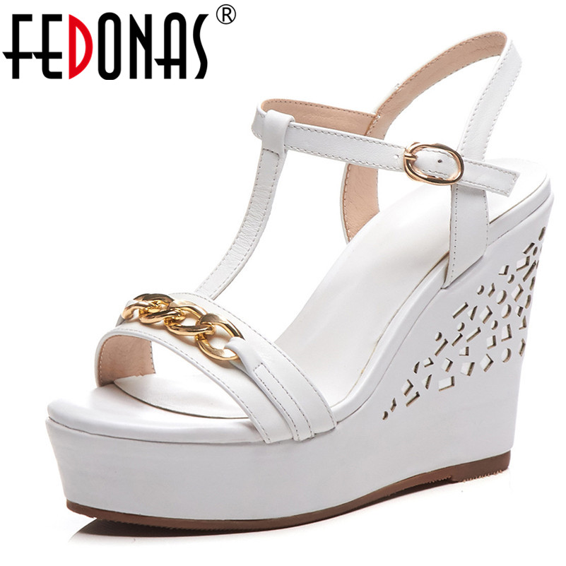 FEDONAS Women Pumps Summer Wedge Sandals Genuine Leather Casual Sandals T Strap Metal Chain Buckle Sandals