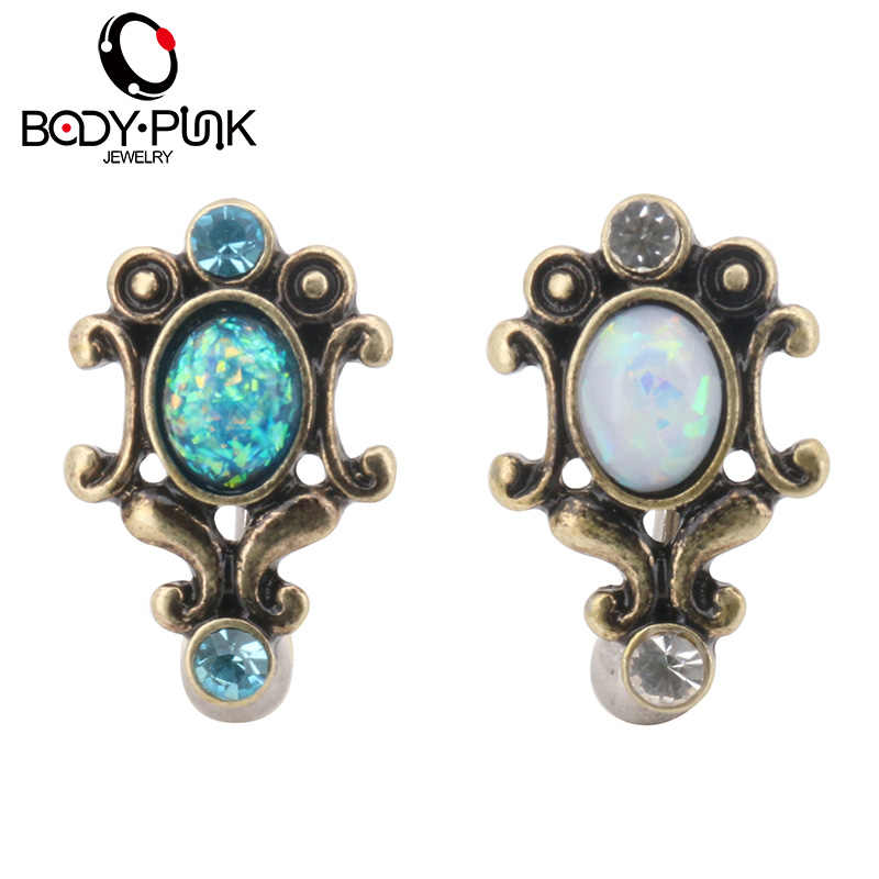 BODY PUNK Sexy Reverse Blue/White Opal Barbell Ring Stainless Steel Navel Rings Body Jewelry Navel&Bell Button Rings 1.6*15*23mm