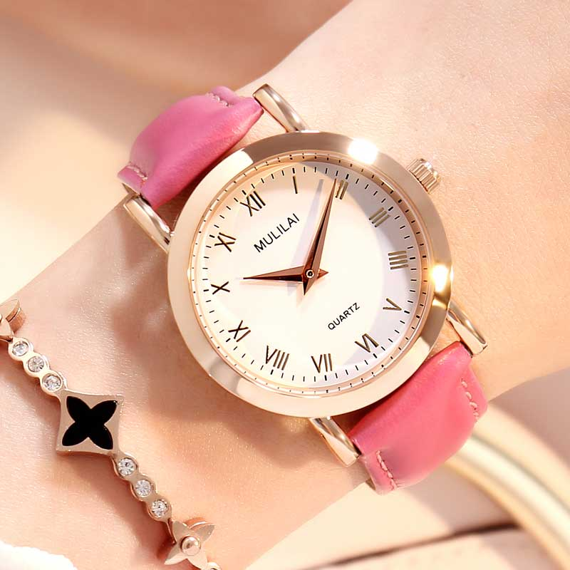 MULILAI Marca Fashion Star Dial Women Relojes Luxury Golden Leather - Relojes para mujeres