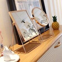 Espejo de tocador Vintage, rectángulo de resina dorada/redondo con decoración de encaje, espejo para maquillaje, tocador, escritorio de hogar, decoración de Espejos