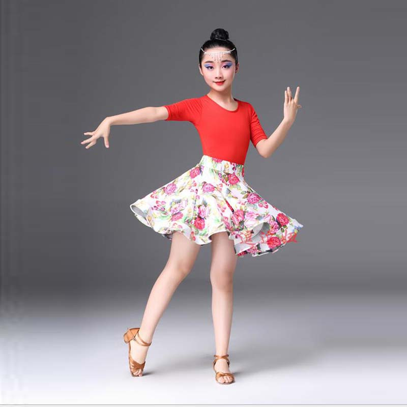 New Children Latin Dance dress woman Latin dancewear Girl print flower Dress Children dancing costumes Summer Dress For girl