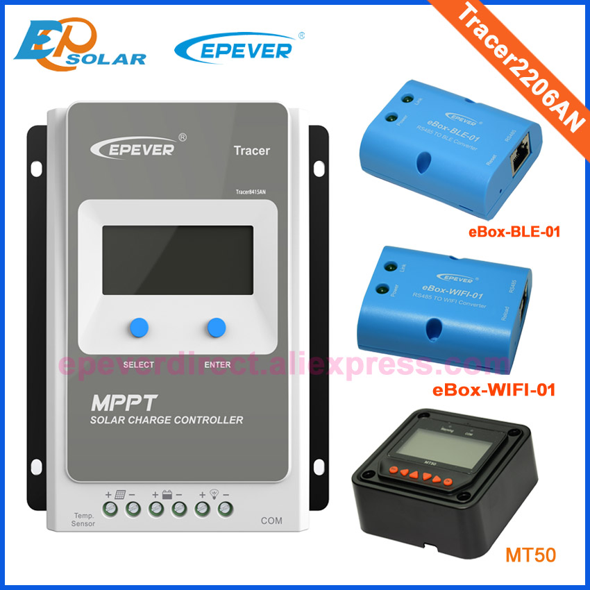 Contrôleur de chargeur 20A MT50 mètre LCD affichage régulateur solaire 20 ampères MPPT EPEVER Tracer2206AN Max PV inpu 60 V