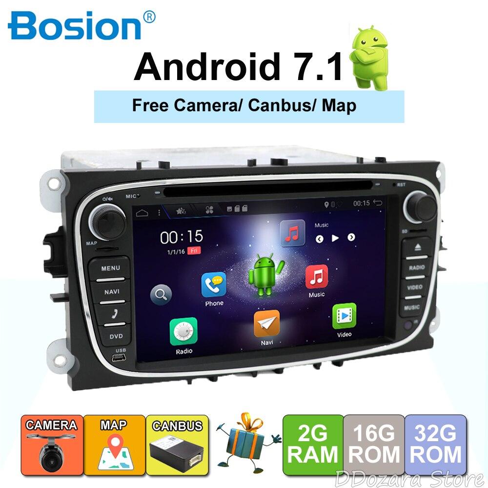 Quad Core 2din Android 7.1 DVD De Voiture pour Ford Mondeo S max avec Anglais Wifi 3g GPS Bluetooth Radio écran tactile wifi 3g