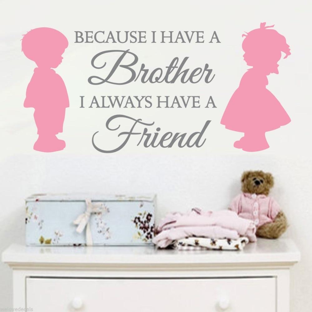 Amitié entre frère et sœur livraison gratuite vinyle stickers muraux Art  décoration de la maison enfant pépinière murale papier peint F-101 25735ce114ec
