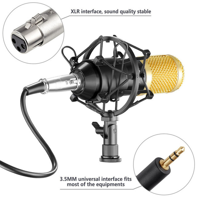 Bm800 mikrofon condenser sound recording bm 800 microphone with shock mount for radio braodcasting singing recording ktv karaoke