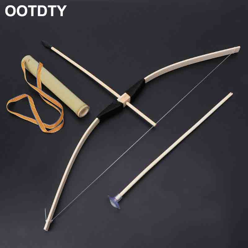 Safe Bamboo Bow And Arrow Toy Set Green Arrow Hero Cosplay Outdoor Sports Kids Toy Gift Boy Favors Craft