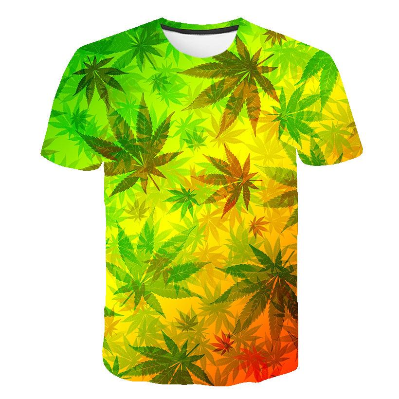 Weed Leaf T Shirt Summer Short Sleeve Men Women 3D T-shirts Funny Streetwear Camisetas Tee Shirt Homme De Marque 2019 Flower Tee
