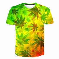 Weed Leaf camiseta De verano De manga corta hombres mujeres 3D Camisetas Funny Streetwear Camisetas camiseta Homme De marca 2019 flor Tee
