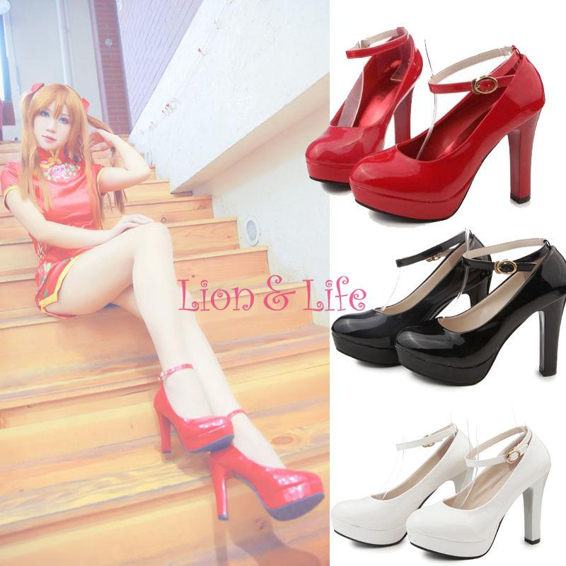 Women Lady Lolita High Thin Heel Cosplay Patent Leather Platform Strap Shoes