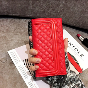 Image 5 - Aoweziic Luxury folding mirror card wallet leather case For iphone 11 pro max X XS MAX XR Case 8 7plus cover crossbody chain bag