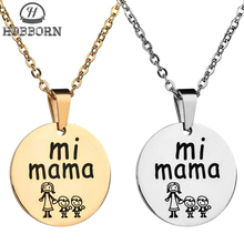 HOBBORN Trendy Women Collar Necklace 316L Stainless Steel High Polished Mama Boy Girl Family Serise Female Necklaces & Pendants