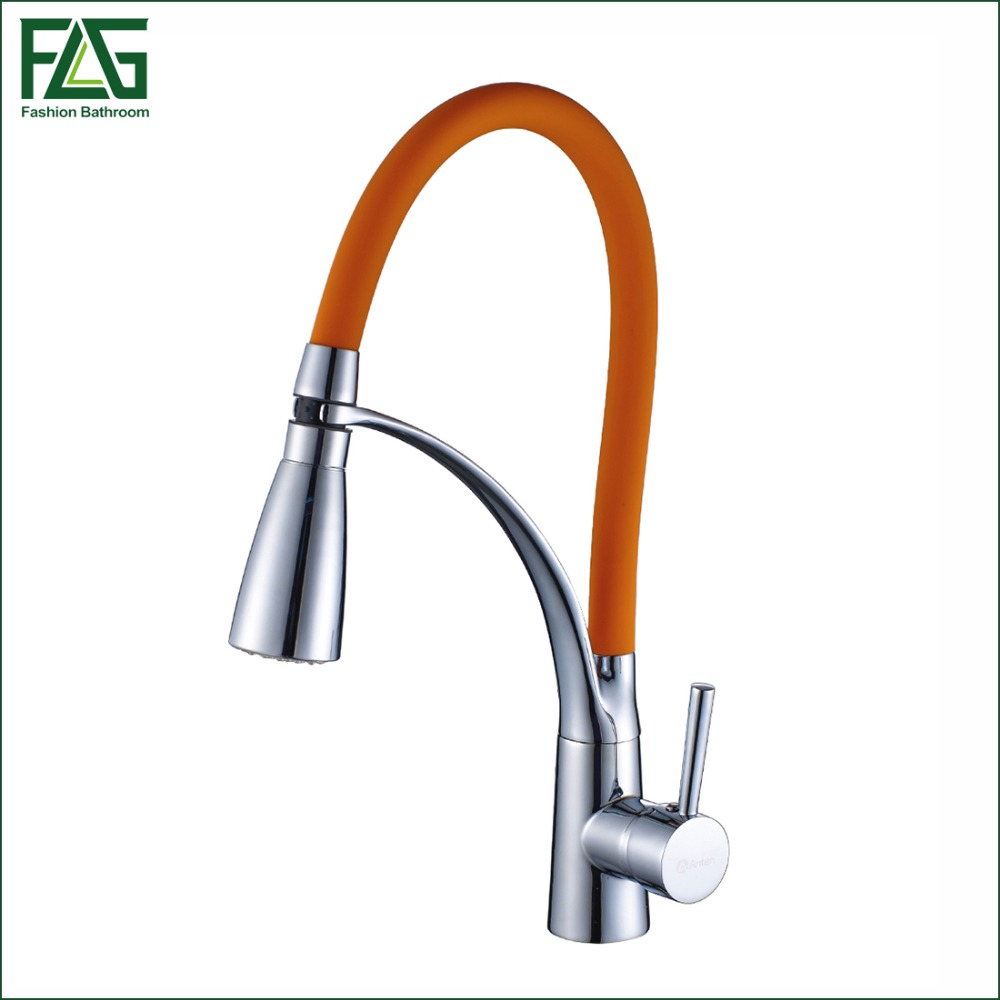 FLG Kitchen Faucet Pull Out Chrome Cast Orange Color 360 Degree Rotating Cold And Hot LED