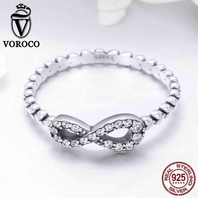 VOROCO วินเทจของแท้ 100% 925 เงินสเตอร์ลิง Infinity Forever พราวแหวนหญิงเงิน S925 ของขวัญเครื่องประดับ Fine Fine BKR414