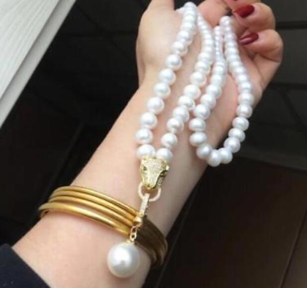 AAA 9-10 MM NATURAL WHITE PEARL NECKLACE LENGTH 30 +HUGE PENDANT AAA 9-10 MM NATURAL WHITE PEARL NECKLACE LENGTH 30 +HUGE PENDANT