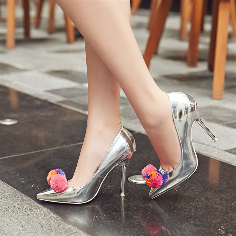 Fashion Silver Mirror Leather High Heel Shoes Women Pointed Toe Cute Pumps Luxury Brand Party Bride Shoes Stiletto Woman Pumps wholesale lttl new spring summer high heels shoes stiletto heel flock pointed toe sandals fashion ankle straps women party shoes