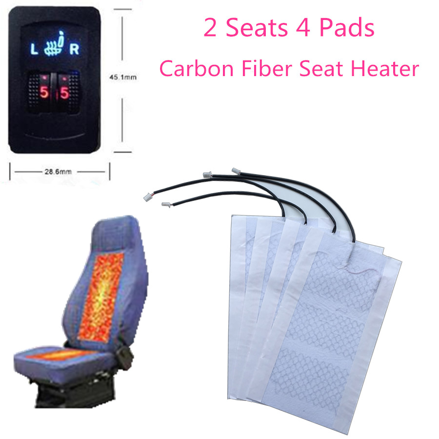 2 Seats 4 Pads Universal Carbon Fiber Heated Seat Heater 12V Pads 2 Dial 5 Level Switch LCD Winter Warmer Seat Covers heating 2pcs 12v universal car heated seat covers pad carbon fiber heated auto car seat heating pad winter warmer heater mat