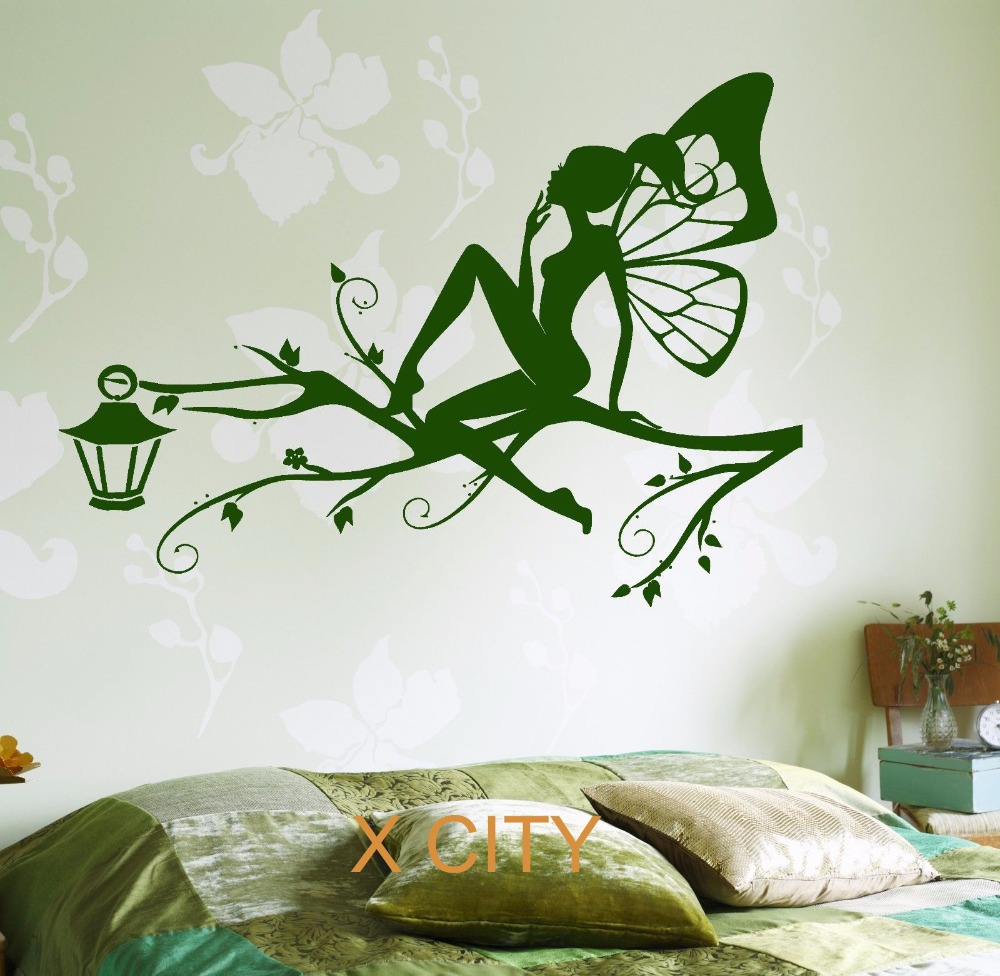 buy fairy on the tree branch for children kids bedroom wall art decal sticker. Black Bedroom Furniture Sets. Home Design Ideas