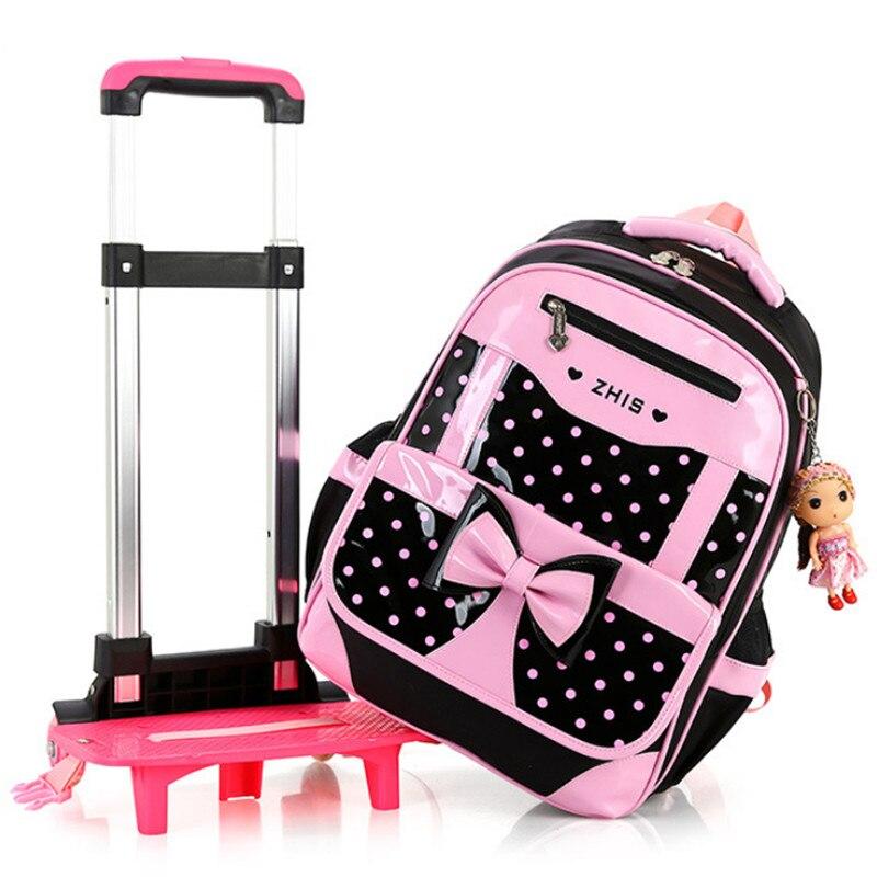 Kinderen schooltassen voor Meisjes Boog Leuke Afneembare Trolley Rugzak Kids travel bagage boek schooltas Mochilas Escolares-in Schooltassen van Bagage & Tassen op  Groep 2