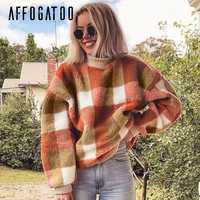 Affogatoo Casual O neck plaid lambswool hoodies sweatshirt frauen Vintage lose pullover sweatshirt Herbst winter damen mäntel
