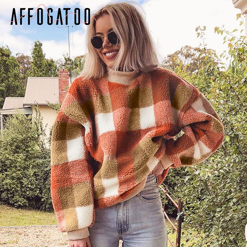 Affogatoo Casual O Neck Plaid Lambswool Hoodies Sweatshirt Women Vintage Loose Pullover Sweatshirt Autumn Winter Ladies Coats