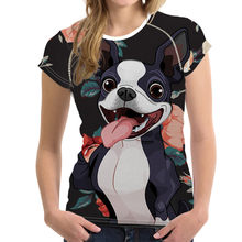 NoisyDesigns Donne della Maglietta Divertente Boston Terrier Stampato Vogue t shirt Manica Corta Estate maglietta Sottile del O-collo Femme Womens Top(China)