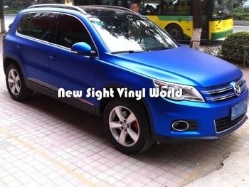 Alta calidad mate Metal azul vinilo envoltura azul metálico vinilo película Aire Libre burbuja para envolver el coche