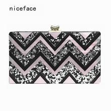 New 2017 Women evening Clutch bag Acrylic vintage Wave patchwork wallet Shoulder party portable casual Noble Prom handbag Hot