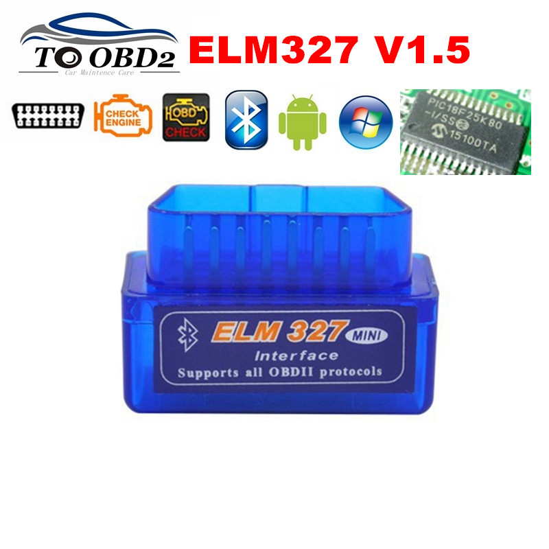 100% Firmware V1.5 PIC18F25K80 ELM327 Bluetooth V1.5 OBD2 herramienta de diagnóstico de coche ELM 327 V1.5 funciona en Android/Symbian mejor calidad