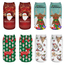 2019 High Quality Women Christmas Socks 3D Cartoon Chrismas Santa Print Socks Funny Crazy Cute Amazing Novelty Print Ankle Socks 3d galaxy one side print crazy ankle socks