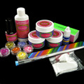 6 X Stars & Hearts Glitter Sheets 14ml Topcoat UV GEL Brush Pen False Buffer Block 3-Sides 3g Nail Glue N053 Nail Kits