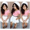 Girls Summer Clothes Sets Pink Tops Skirt 3piece/sets Kids Costume Kids Fashion Shirt Skirt Belt Cheap Infant Clothing D04X36