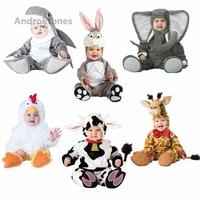 Androktones 2018 Children Jumpsuits Elephant Onesie Kids Girls Boys Warm Soft Animal Cosplay Pajamas Halloween Costumes