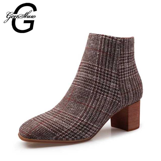 0255b43bd9e GENSHUO New Retro Women s Boot Fleeces Winter Boots Gingham Ankle Boots Square  Toe High Heels Woman Shoes Zipper Women s Boots