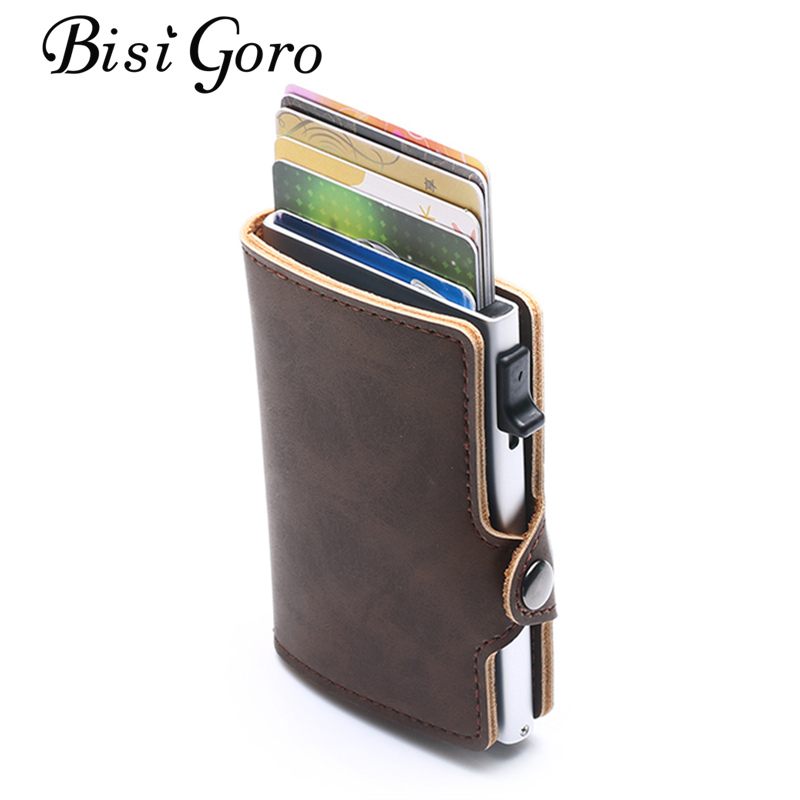 BISI GORO Slim Aluminum RFID Wallet PU Leather Blocking Credit Card Holder Card Case for Travel Vintage Purses Dropshipping in Wallets from Luggage Bags