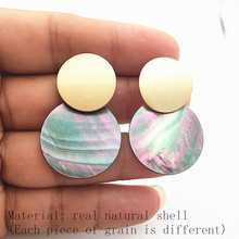 2019 Womens Luxury Jewelry Black Natural Abalone Shell Earrings Round Pendant Large Geometric for Womrn P640