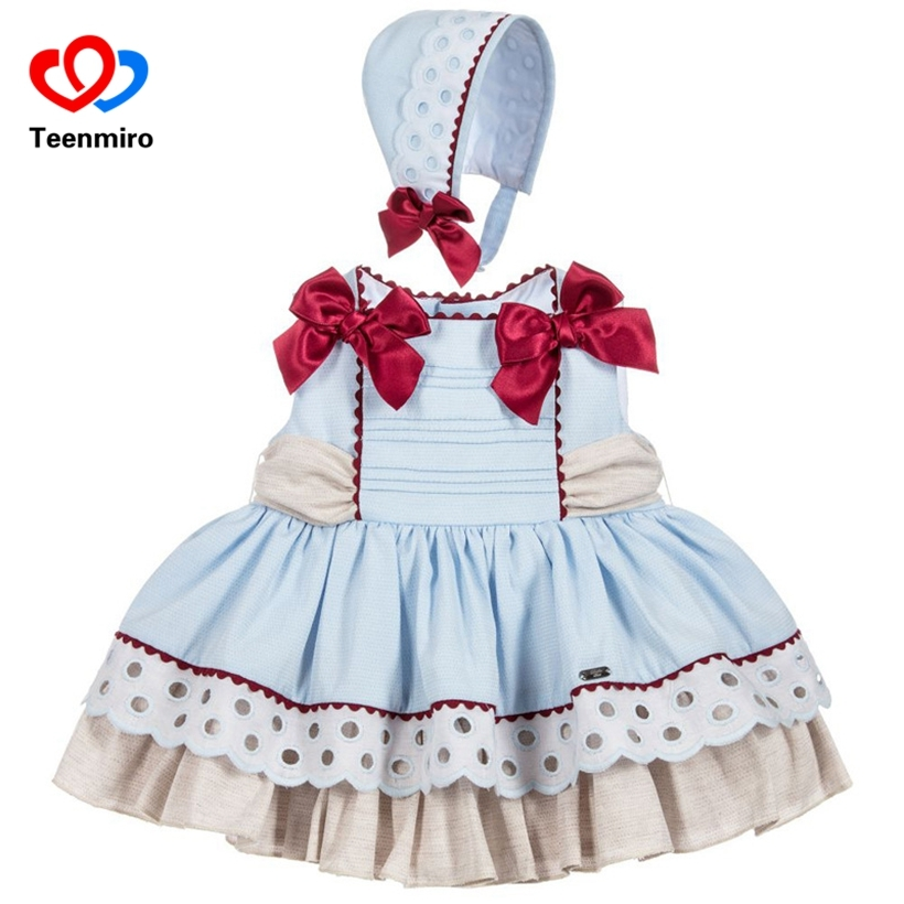 Summer Spain Kids Dresses for Girls Patchwork Baby Blue Dress Tulle handmade Bow With Hat PP Pant Toddler Girl Mini Robe Fille цена 2017