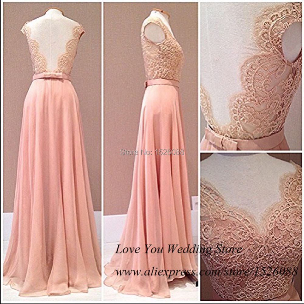 Real Photo Pink Coral Long Prom Dresses Lace Backless Evening Gowns ...
