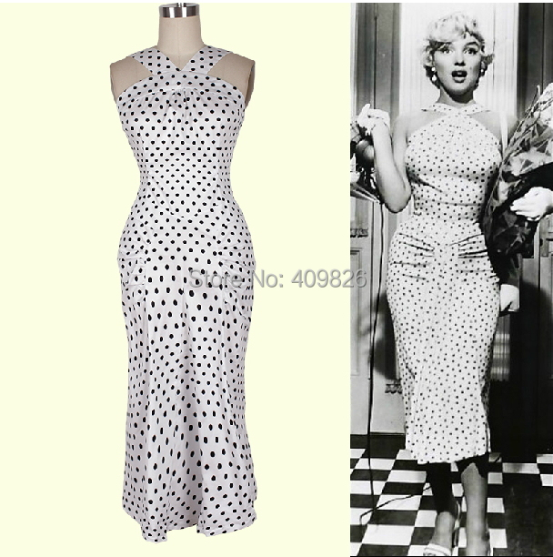 Vintage Marilyn Monroe Style Y Black White Polka Dot Print Pencil Wiggle Dress Slim Waist Bodycon Evening Party Vestido Festa In Dresses From Women S