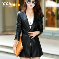 Autumn Hot Sale Pu Leather Jacket For Women Plus Size Korea Elegant Ladies Single Button Chaqueta
