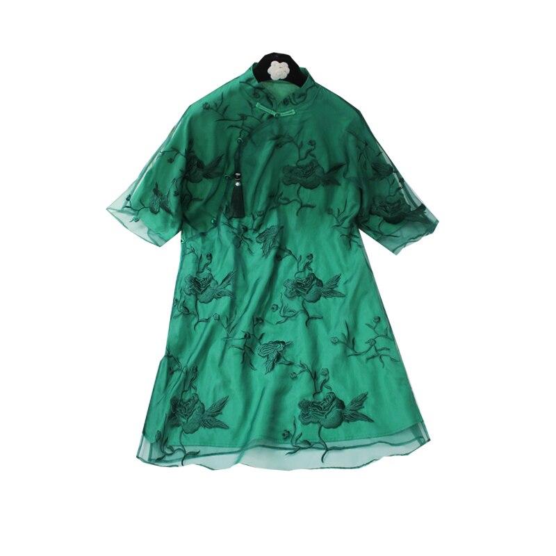 Vert Style chinois chemise classique femmes à la main bouton à manches courtes Blouse broderie fleur bureau dame Top grande taille S-XXXL