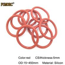 Красные силиконовые уплотнительные кольца od15 мм~ 450 мм* 5 мм толщина пищевого качества уплотнения без яда термостойкие уплотнительные прокладки