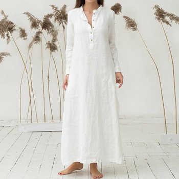 EaseHut Women Cotton Dress 2020 Spring Summer Long Sleeve Maxi Long Dresses Sexy Split Casual Loose Plus Size 4XL 5XL Vestido