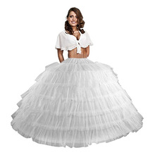 Doragrace 6 Hoops Layers Ball Gown Petticoats White Petticoat Crinoline Underskirt Big Ruffle Wedding Accessories