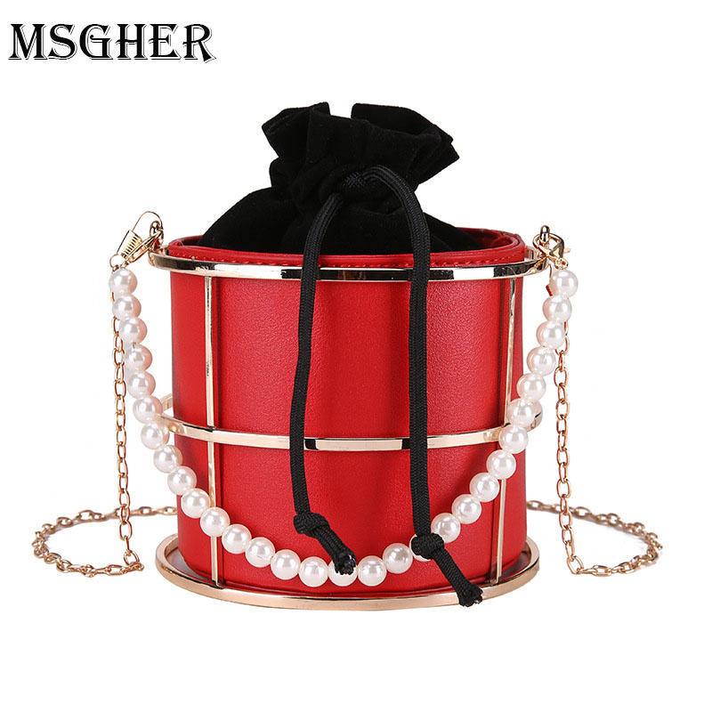 MSGHER Hollow Metal Women Shoulder Bag Gold Cages Women Round Clutch Bag Pearls Hand Evening Ladies Luxury Wedding Party Bags